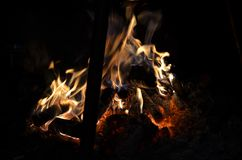 Colors of Campfire at night. royalty free stock images