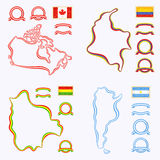 Colors of Canada, Colombia, Bolivia and Argentina. Outline map of Canada, Colombia, Bolivia and Argentina. Border is marked with a ribbon in the national colors Royalty Free Stock Photos