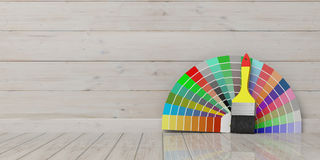 Colors catalogue and paint brush on wooden background. 3d illustration. Paint colors catalogue and brush on wooden background. 3d illustration Stock Images
