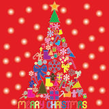 Colors christmas icons be christmas tree on red background and s Royalty Free Stock Photography