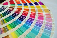 Colors, close-up. Colors palette used in printing houses and buildings industry to choose the proper color royalty free stock photos