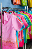 Colors clothing on hangers Royalty Free Stock Photo