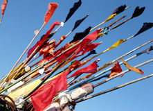 Colors. Colored flags on a sticks Royalty Free Stock Photos