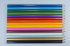 Colors of the coloring pencils. Color Pencils at the ready to drain Royalty Free Stock Photo