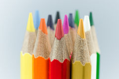 Colors of the coloring pencils. A sharp pencil sharpener Prepare for use Royalty Free Stock Photo