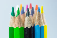 Colors of the coloring pencils. A sharp pencil sharpener Prepare for use Stock Image