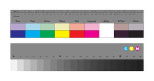 Colors control patches and gray scale. Vector illustration of colors control patches and gray scale for photographers and videographers Royalty Free Stock Image