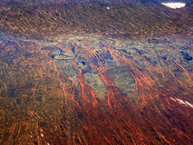 Colors of desert. Colorful dried riverbed system. Aerial photo of desert Royalty Free Stock Image
