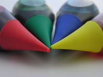 Colors of diversity 2. Macro of food coloring bottles meant to suggest diversity royalty free stock photo