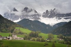 Colors of Dolomites. funes view of the valley, Puez-Odle in autumn royalty free stock photo