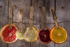 The colors of the dried citrus fruit Royalty Free Stock Image