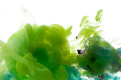 Colors dropped into liquid and photographed while in motion. Ink shape or swirling in water for design or decorate background or a. Bstract banner on white Royalty Free Stock Photo