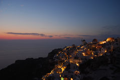 Colors at dusk in Oia Santorini Greece Royalty Free Stock Image