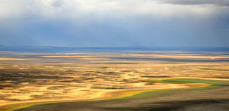 Colors of Eastern Oregon. The bright colors of Warner Lakes in Eastern Oregon stretch across the horizon during in late fall Stock Images
