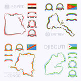 Colors of Egypt, Eritrea, Democratic Republic of the Congo and Djibouti Royalty Free Stock Image