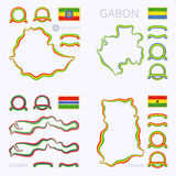 Colors of Ethiopia, Gabon, Gambia and Ghana. Outline map of Ethiopia, Gabon, Gambia and Ghana. Border is marked with ribbon in national colors. The package Royalty Free Stock Photo