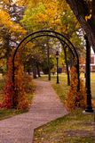 Garden Arch in Autumn. The colors of fall are surrounding this archway in the park in autumn Royalty Free Stock Photography