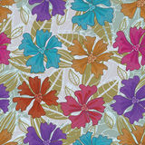 Colors Flowers Square Seamless Pattern_eps. Illustration of colors flowers square composition seamless pattern with leaves background Stock Photography
