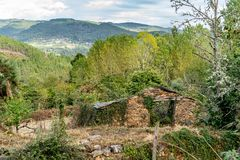 Colors of the forest in autumns. In Golan abandoned town of Puebla de Brollon in Lugo, Galicia royalty free stock images