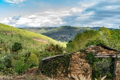Colors of the forest in autumns. In Golan abandoned town of Puebla de Brollon in Lugo, Galicia stock photo