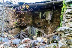 Colors of the forest in autumns. In Golan abandoned town of Puebla de Brollon in Lugo, Galicia royalty free stock image