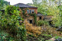 Colors of the forest in autumns. In Golan abandoned town of Puebla de Brollon in Lugo, Galicia stock photos
