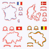 Colors of France, Denmark, Switzerland and Belgium. Outline map of France, Denmark, Switzerland and Stock Image