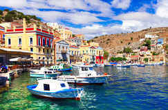 Colors of Greece - beautiful authentic island Symi in Dodecanesse stock photography
