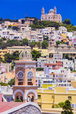 Colors of Greece series -  Syros island , view of Ano Syros vill Royalty Free Stock Image