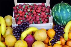 Colors of grocery. Beautiful fruit arrangement at a market Stock Photos