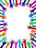 Colors hands up background, concept of cooperation and reach poster, card Royalty Free Stock Photo