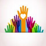 Colors hands up. Shape presentation in cute background Stock Photos