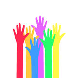 Colors hands up. Stock Images
