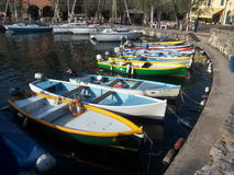 Colors in the Harbor. Colored ships in Garda Lake Stock Images