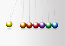 Colorful Newton's Cradle Stock Images