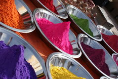 Colors of India. Colourful powders used for different purposes in India Stock Image