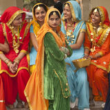 Colors of India. Female Dancers from the Punjab. Group of colorfully dressed Indian ladies at the annual Surajkund Festival near Delhi, India Stock Image