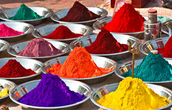 Colors, India. Colors for Sadhu make-up, Orcha, Madhya Pradesh, India