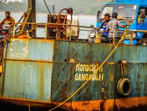 Colors of India. Gokarna Karnataka India December 13, 2017 View of unknowns people traveling in the ferry to Karwar in southern India stock photos