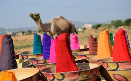 Colors of India, Pushkar. Colored powder prepared for sale during the Camel Fair Stock Image