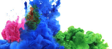 Colors and ink in water. Stock Images