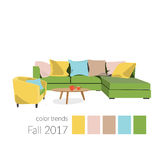 Colors of 2017 in interior design. Color trends 2017 in interior design and fashion Stock Photography