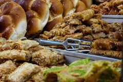 Colors of Israel. Jerusalem Israel May 24, 2018 Closeup of various pastries sold in the market of Jerusalem in Israel in the evening Royalty Free Stock Photos