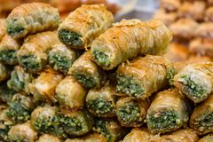 Colors of Israel. Jerusalem Israel May 24, 2018 Closeup of various pastries sold in the market of Jerusalem in Israel in the evening Royalty Free Stock Photography