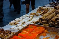 Colors of Israel. Jerusalem Israel May 24, 2018 Closeup of various pastries sold in the market of Jerusalem in Israel in the evening Royalty Free Stock Images