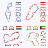 Colors of Israel, Lebanon, Yemen and Kuwait Royalty Free Stock Photos