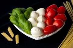 The colors of the Italian flag: green, white, and red royalty free stock photos