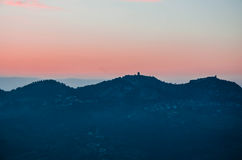 The colors of italian sunset. The colors of italian sunset from the terrace of Malatesta fortress in Verucchio (rimini), Italy Stock Photography