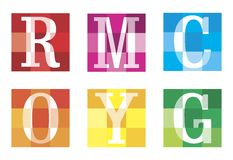 Colors. The letters on a colored background. Logos Stock Photo