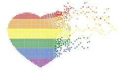 Rainbow heart shape of flying colorful dots on white transparent background. Vector illustration, EPS10. The colors of LGBT or GLBT pride flag, is a symbol of royalty free illustration